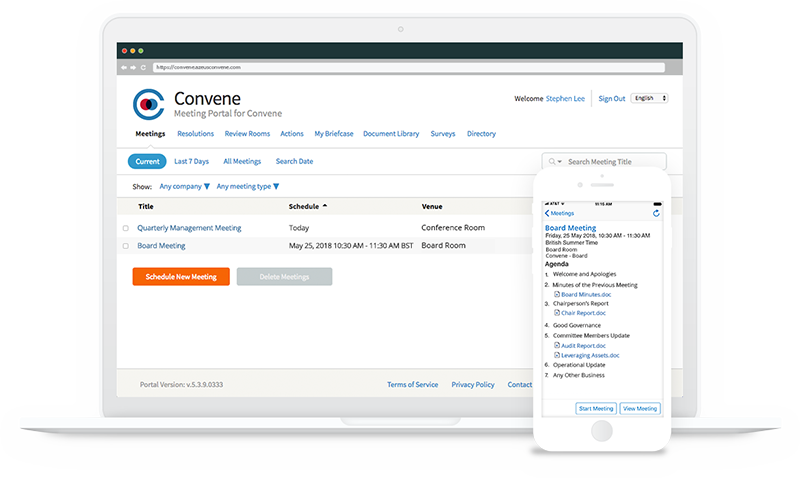 Azeus Convene as a Board Management Software - Azeus Convene - Laptop and Phone